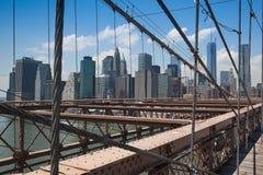 历史的布鲁克林大桥细节在纽约 免版税库存照片