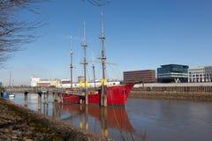 历史的帆船在布里曼,德国 免版税库存照片