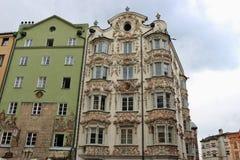 历史的房子在因斯布鲁克,奥地利 免版税库存图片