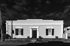 历史的房子,使用作为客舍,在西维多利亚黑白照片 免版税库存照片