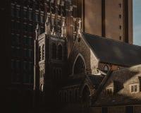 历史的教会在街市得梅因,衣阿华 库存图片