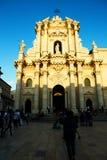 历史的教会在Ortigia,西西里岛 库存照片