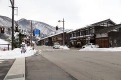 历史的日本村庄在冬天白川町去 免版税图库摄影