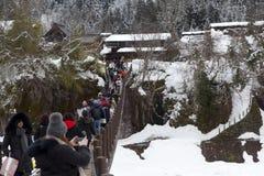 历史的日本村庄在冬天白川町去 库存照片
