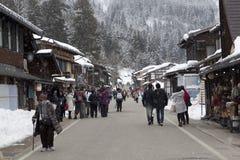 历史的日本村庄在冬天白川町去 免版税库存图片