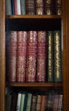 历史的旧书在图书馆里 免版税库存图片