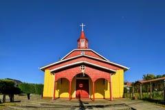 历史的木教会,建造由阴险的人, Chiloe 库存图片