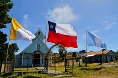 历史的木教会,建造由阴险的人, Chiloe 免版税库存图片