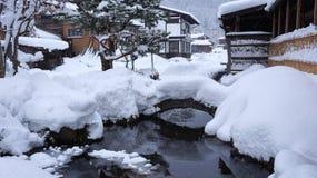 历史的村庄在冬天白川町去 库存照片