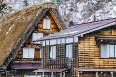 历史的村庄在冬天,一个世界文化遗产站点白川町去在岐阜,日本 免版税库存图片
