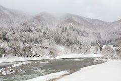 历史的村庄在冬天,日本白川町去 免版税图库摄影