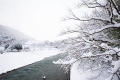 历史的村庄在冬天,日本白川町去 免版税库存照片