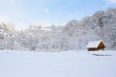 历史的村庄在冬天,日本白川町去 库存照片