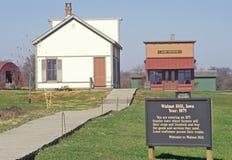 1875历史的村庄,核桃小山,衣阿华 库存照片