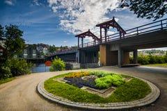 历史的桥梁在特隆赫姆,挪威 免版税图库摄影