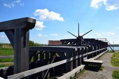 历史的水闸在Bleiswijk,荷兰 免版税图库摄影