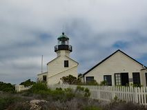 历史的洛马角灯塔,圣迭戈,加利福尼亚 免版税库存照片