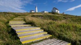 历史的海角矛灯塔在一个晴天 免版税图库摄影