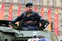 历史的游行的庆祝1941年11月7日的在红场在莫斯科 免版税库存图片