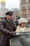 历史的游行的庆祝1941年11月7日的在红场在莫斯科 免版税库存照片