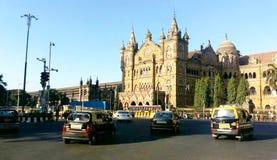 历史的火车站贾特拉帕蒂・希瓦吉终点站在孟买,联合国科教文组织世界遗产名录站点,孟买,印度 免版税图库摄影