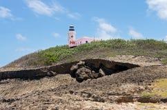 历史的灯塔和陆岬在Arecibo 免版税图库摄影