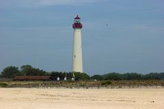 历史的灯塔在开普梅,新泽西 免版税库存图片