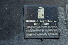 历史的灯塔的地道题字在好望角的1860-1919 免版税库存照片