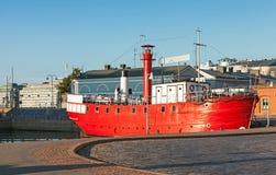历史的灯塔船,退役的浮动灯塔 库存图片