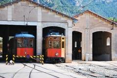 历史的电车。索勒马略卡,西班牙。 图库摄影
