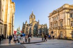 历史的皇家英里的街道视图,爱丁堡 库存图片