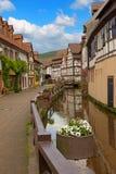 历史的磨房巷道, annweiler村庄,萨尔 库存照片