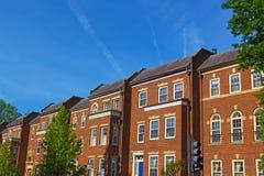 历史的红砖连栋房屋在华盛顿特区乔治城邻里,美国 免版税库存图片
