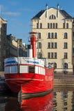 历史的红色Relandersgrund灯塔船在赫尔辛基 免版税图库摄影
