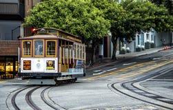历史的缆车, 2017年8月17日的鲍威尔海德线, -旧金山,加利福尼亚,加州 免版税库存图片