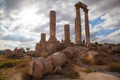 历史的罗马寺庙在约旦 图库摄影