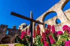 历史的老西部西班牙使命圣何塞,在1720年建立, 库存照片