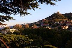 历史的老镇看法在第比利斯,乔治亚 库存照片