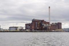 历史的能源厂在新贝德福德 免版税库存图片