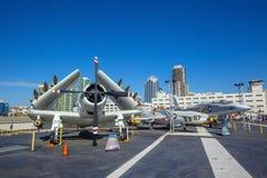 历史的航空母舰,中途的USS 免版税库存照片