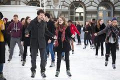 历史的萨默塞特议院的每年圣诞节滑冰场 库存照片