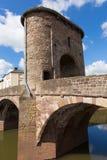 历史的蒙茅斯桥梁威尔士英国旅游胜地Y形支架谷 库存照片