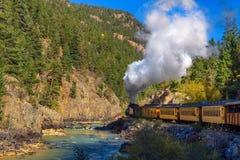 历史的蒸汽引擎火车在科罗拉多,美国 免版税图库摄影