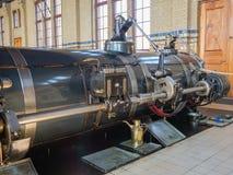 历史的蒸汽泵站机器室  免版税库存照片
