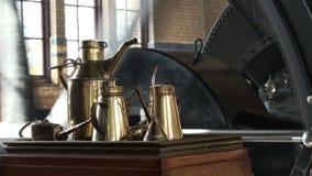 历史的蒸汽泵站机器室  股票视频