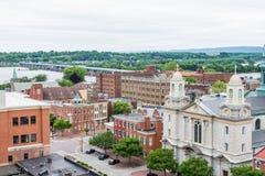 历史的街市哈里斯堡,在旁边的宾夕法尼亚天线  免版税库存图片
