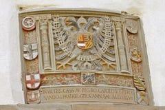 历史的装饰Rothenburg ob der Taubre匾 免版税库存图片