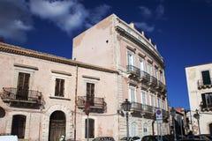 历史的西西里岛,西勒鸠斯中心 库存照片