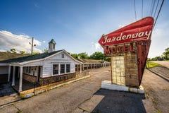 历史的路线的66被放弃的汽车旅馆在密苏里 免版税库存图片