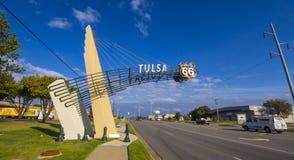历史的路线66在土尔沙俄克拉何马-土尔沙-俄克拉何马- 2017年10月17日 图库摄影